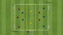 BALL POSSESSION 5 VS 5 + 2 JOLLY ON THREE ZONES SEARCHING THROUGH PASS
